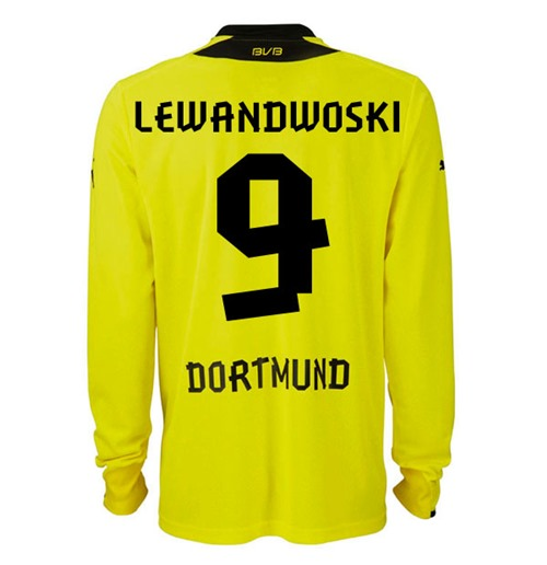 new product aec71 3976f 2013-14 Borussia Dortmund Long Sleeve Home Shirt (Lewandowski 9)