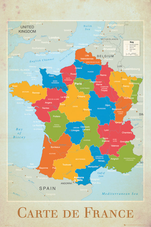 France Map Maxi Poster