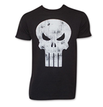 Black Distressed PUNISHER Skull Logo T-Shirt