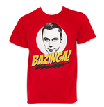 Men's Red Sheldon BIG BANG THEORY Bazinga Tee Shirt