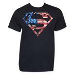 SUPERMAN Patriotic American Flag Stars Stripes USA DC Comics T-Shirt