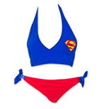 SUPERMAN DC Comics Women's Halter Top Bikini Swimsuit