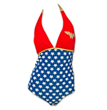 WONDER WOMAN DC Comics One Piece Women's Halter Plunge Bathing Swim Suit