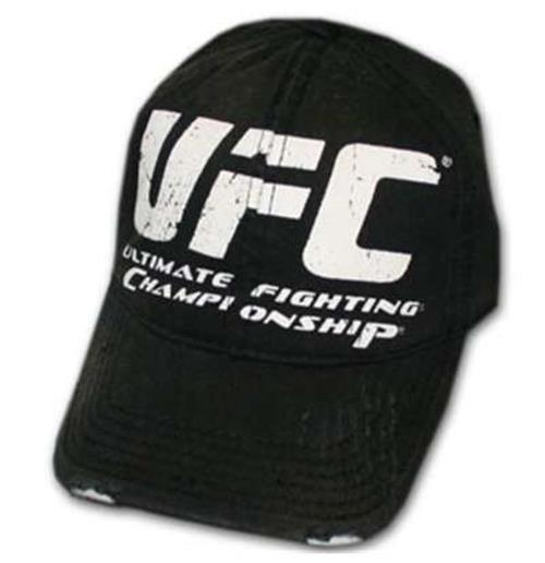 Buy Official UFC Jumbo White Logo Distressed Black Fitted Cap 9aca340d667