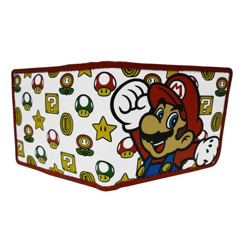 NINTENDO SUPER MARIO BROS. Mushroom Pattern With Mario Bi-fold Wallet, White
