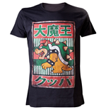 NINTENDO SUPER MARIO BROS. Bowser with Kanji Text Mens Extra Large T-Shirt, Black
