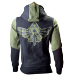 NINTENDO LEGEND OF ZELDA Large Mens Hoodie with Zelda Back Design, Green/Black
