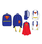 DC COMICS SUPERMAN Big Logo Backpack with Novalty Red Cape, Blue