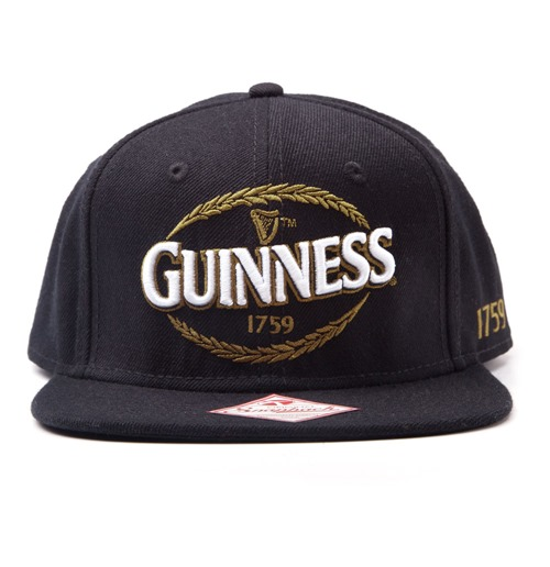 7ba59013c GUINNESS Snapback Baseball Cap with Embroidered Logo, Black