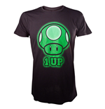 NINTENDO SUPER MARIO BROS. 1-Up Green Mushroom Large T-Shirt, Black
