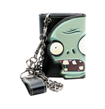 PLANTS VS. ZOMBIES Zombie Face Tri-fold Wallet with Chain, Black