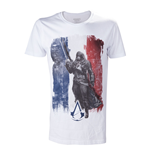 ASSASSIN'S CREED Unity French Tricolour Flag Large T-Shirt, Adult Male, White