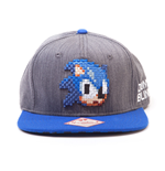 SEGA Sonic The Hedgehog 2D Pixelated Head Snapback Baseball Cap, Grey/Blue
