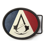 ASSASSIN'S CREED Unity Oval Belt Buckle with Classic Crest Logo on a Tricolour Background, Black