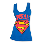 SUPERMAN Logo Junior's Blue Tank Top