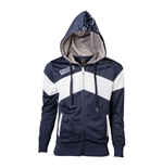 ASSASSIN'S CREED Unity Slanted Stripe Extra Large Hoodie with Full Length Zip, Blue/White