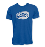 BUD LIGHT Blue Men's White Logo Tee Shirt
