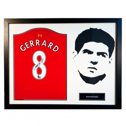 Liverpool F.C. Gerrard Signed Shirt Silhouette
