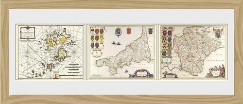 Maps Triptych Framed Photographic Print
