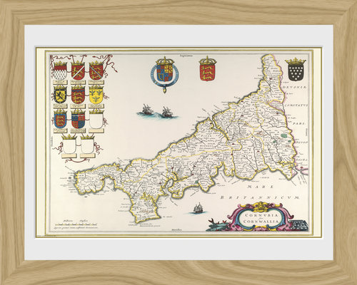 Maps Cornwall Framed Photographic Print