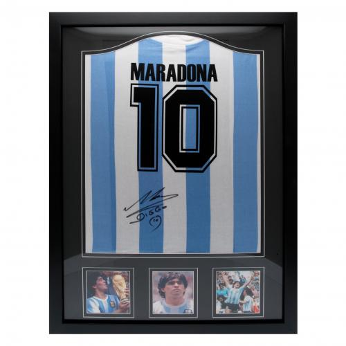 Argentina Maradona Signed Shirt (Framed)