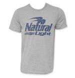 NATURAL LIGHT Blue Logo Men's Grey T-Shirt