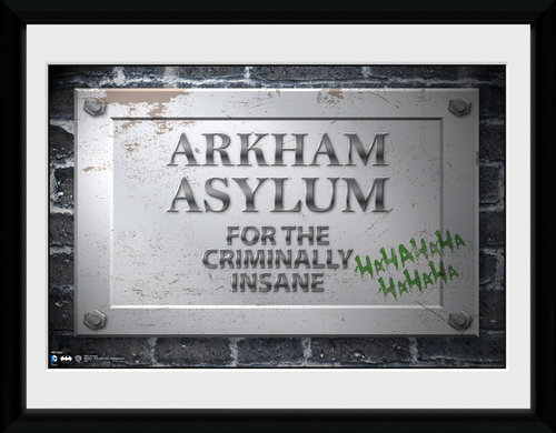 Batman Comic Arkham Asylum Sign Framed Collector Print