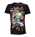 NINTENDO Legend of Zelda Wind Waker Link Attacks Medium T-Shirt, Black