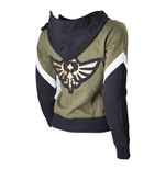 NINTENDO Legend of Zelda Female Royal Crest Full Length Zip Hoodie, Medium, Green/Black