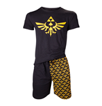 NINTENDO Legend of Zelda Men's Shortama Nightwear Set, Extra Large, Black/Gold (SI4O1572NTN-XL)