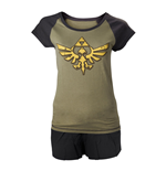 NINTENDO Legend of Zelda Skyward Sword Female Royal Crest Shortama Nightwear Set, Medium, Military Green/Black