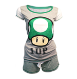NINTENDO Super Mario Bros. Female Green 1-UP Mushroom Shortama Nightwear Set, Medium, Grey/Green