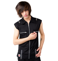 Black Pistol Zip Vest Denim