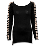 Gothic Elegance - Falling Strap Sleeve Top Black