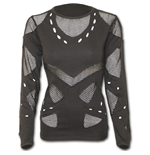 Gothic Rock - Mesh Holes Grunge Top Black