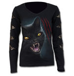 Feline Fury - Lace Patch Cutout V-Neck Top