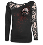 White Rose - Lace One Shoulder Top Black