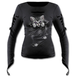 Bright Eyes - Slashed Goth Glove Top Black