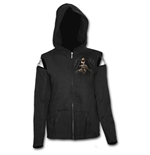 Bone Finger - Mesh Sleeve Full Zip Hoody Black
