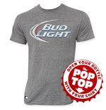 BUD LIGHT Men's Gray's Faded Logo Pop Top T-Shirt
