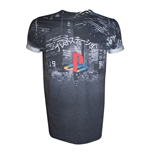 SONY PlayStation City Landscape All-Over Sublimation T-Shirt, Small, Dark Grey