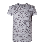SONY PlayStation One Controller All-Over Sublimation T-Shirt, Small, Grey