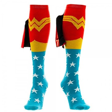 WONDER WOMAN Knee High Shiney Cape Socks