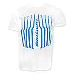 BUD LIGHT Men's White Stripes Tee Shirt