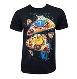 ADVENTURE TIME Men's Black Pizza Tee Shirt