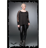 Black long shirt with lace and rose patt