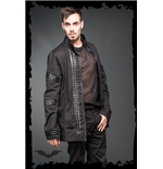 Jacket with black fake-leather applicati