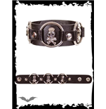 Bracelet with 3 rings and skulls
