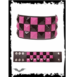 Bracelet with black & pink pyramid studs