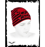 Red / black striped beanie with skull